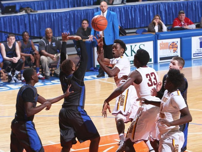 Mount Vernon defeated Saunders 84-74 in the Section 1 Class AA semifinal game at the Westchester County Center in White Plains Feb. 27, 2015.