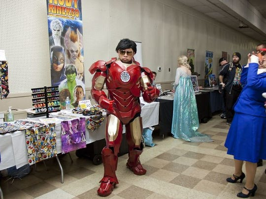 Ruby Rinekso, of New York, is a well-known cosplay actor and is dancing as Iron Man during the second day of the Central PA Comic Con.