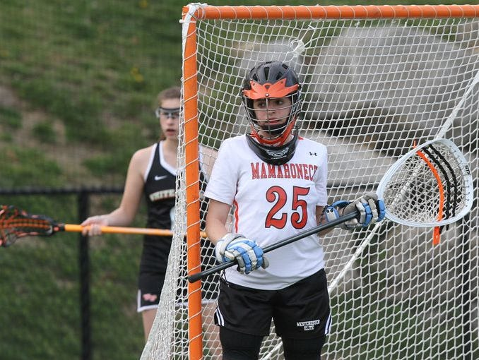 Mamaroneck's Talia Land in goal during a game against White Plains at Mamaroneck High School on April 30th, 2015.