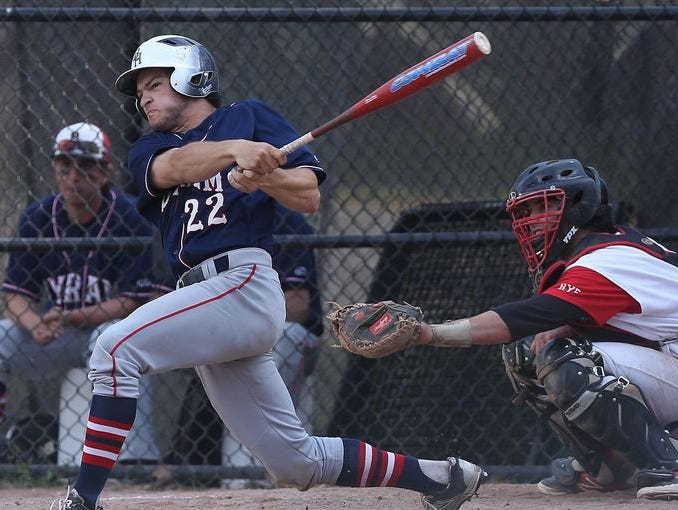 Frankie Vesuvio swings the bat as Byram Hills defeated Rye 15-2 in a game at Disbrow Park in Rye on May 12, 2015.