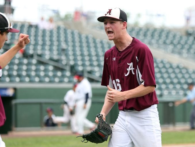 Albertus Magnus pitcher James Reilly earned MVP honors in a 3-2, 14-inning victory over the Keio Unicorns in the Class B sectional final at Provident Bank Park in Pomona on May 30, 2015.