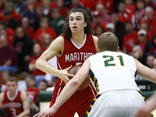 Marathon's Xavier Lechleitner shared the Marawood Conference South Division boys basketball player of the year honors with Newman Catholic's Dane Fronek
