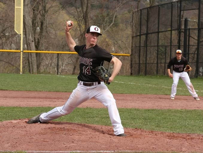 Ossining pitcher Keenan Grimley threw a shutout game during theChristian Federico Memorial Tournamentchampionship game between Ossining and Byram Hills High School on Sunday, Apr. 26, 2015.