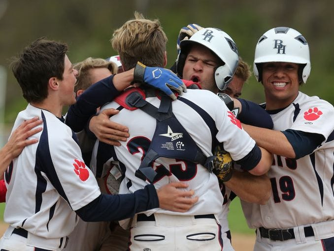Bryam Hills celebrates their 2-1 win over Tappan Zee in baseball game at Byram Hills High School in Armonk on April 29, 2016.