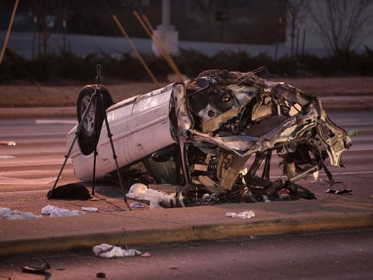 Scene from a fatal crash on Feb. 10, 2015 in south