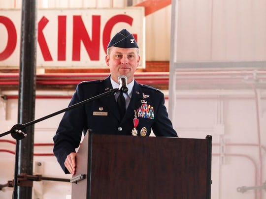 Col. Robert E. Kiebler thanks the 49th Wing Airmen