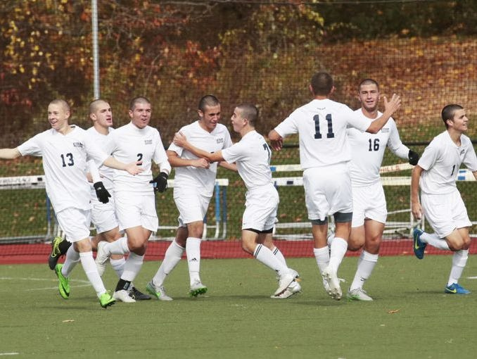 Byram Hills celebrate after scoring against Tappan Zee during the first half at Byram Hills High School in Armonk on Oct. 29, 2015.