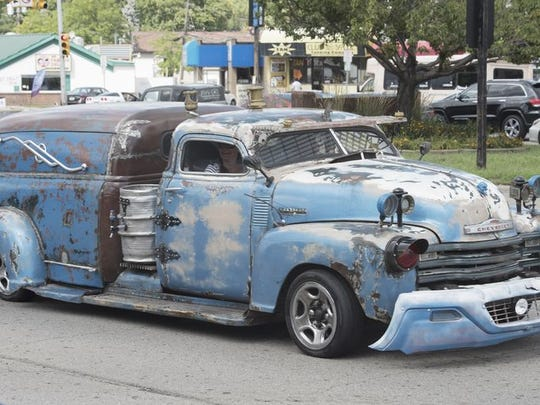 "A 1949-50 ""rat rod/truck/hearse"" at the Dream Cruise."