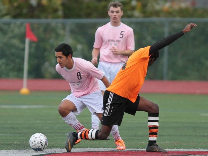 John Amaya (No. 8) is pictured playing for Rye during a 3-0 win over Spring Valley on Oct. 23, 2014. Amaya has rejoined the team after playing in the U.S. Academy system last season.