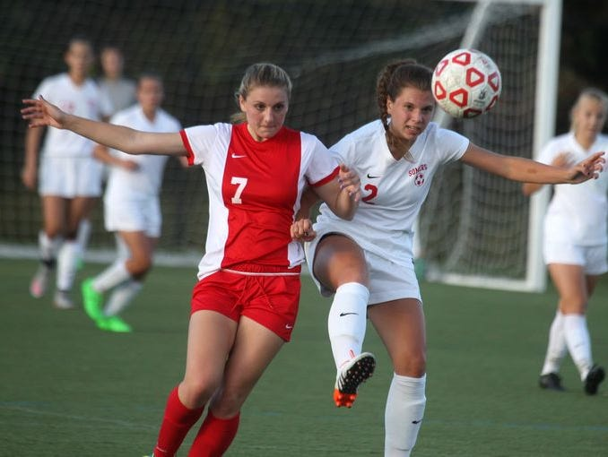 Somers forward Jenna Menta (right) controls the ball in a Sept. 23, 2015 win over North Rockland. Both teams return a strong core of talented players.
