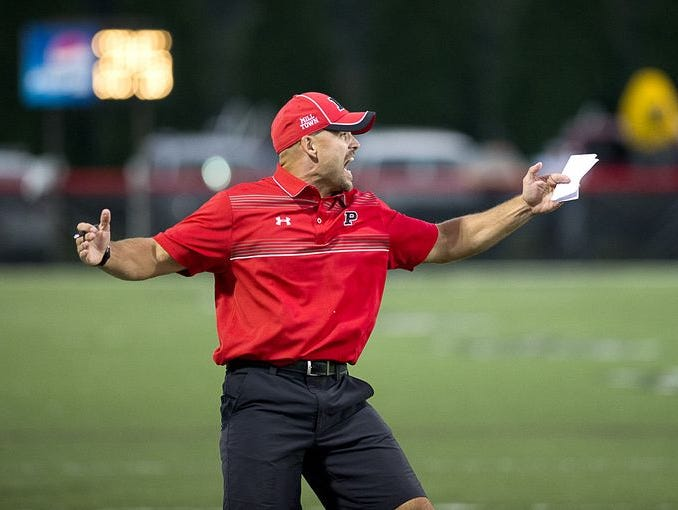 Pisgah's Brett Chappell reacts to a play Thursday night in Canton.