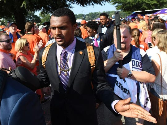 Clemson quarterback Deshaun Watson and the Tigers during their pregame Tiger Walk before facing Troy Saturday afternoon in Clemson