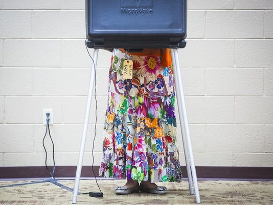 voter in booth Delaware County