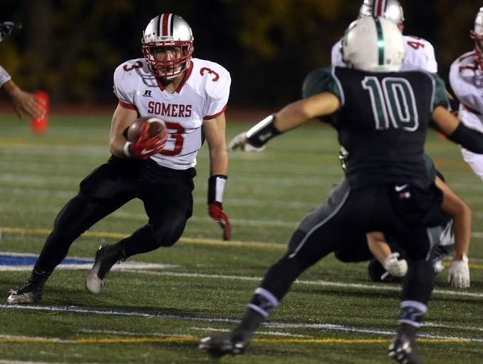 Matt Pires scored three touchdowns in Somers' 42-6 defeat of rival Yorktown in the Class A championship game at Mahopac High School on Nov. 5, 2016.