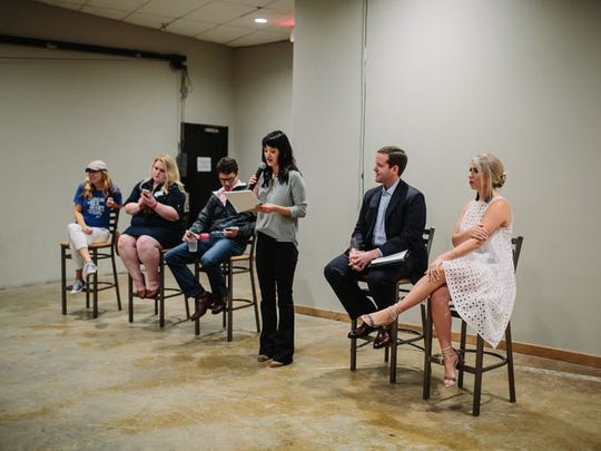 Shreveport Times sponsorships and events manager Emily Knecht  introduces a panel of speakers at a SBC Untapped social at Red River Brewing.