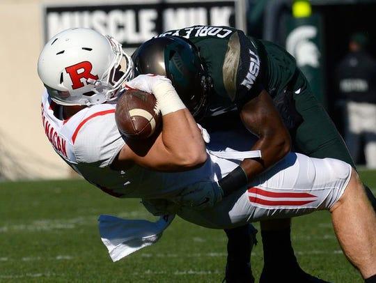 Michigan State Spartans freshman Donnie Corley lays