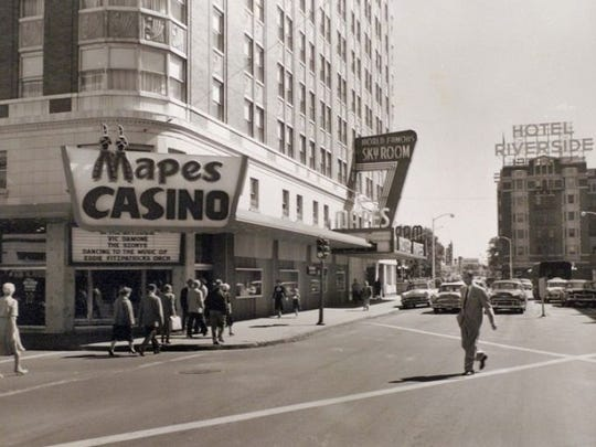 The scramble intersection in front of Mapes Casino in 1954.