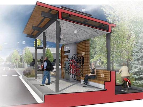 A depiction o what a Red Line bus rapid transit station