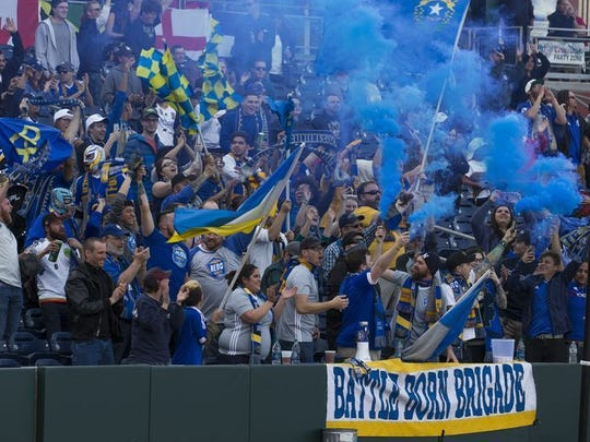 The Battle Born Brigade cheers at a Reno 1868 FC match earlier this month at Greater Nevada Field.
