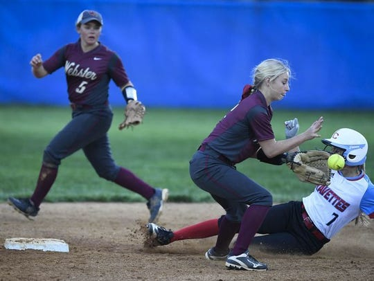 Union County's Evyn Hendrickson avoids a tag from Webster's