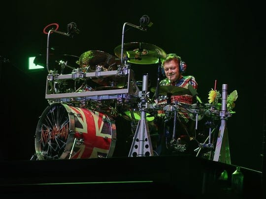 Def Leppard drummer Rick Allen goes to work behind the drums during the Resch Center show.