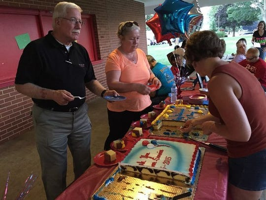 Former Cleona Borough Police Chief Ray Barry, shown serving up cake at a community retirement party in 2015, died suddenly on Monday, July 31