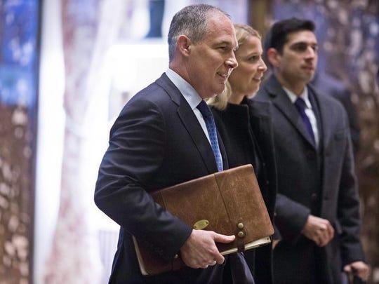 EPA head Scott Pruitt walks into Trump Tower in December
