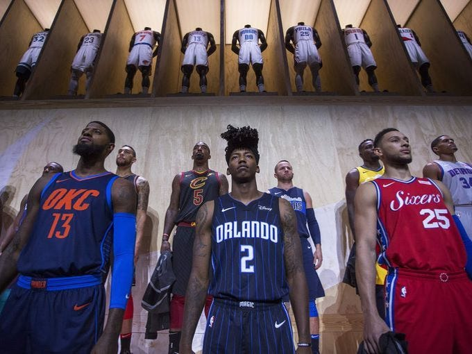 cbbab9455ff Photos  NBA teams unveiling new Nike uniforms for 2017-18 season