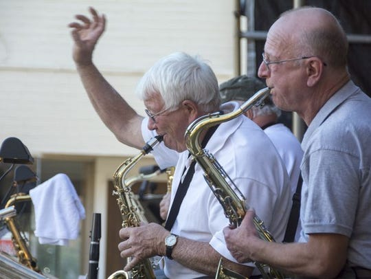 Saxophonists entertain at Galion Oktoberfest in 2014.