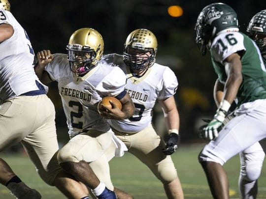 Freehold, led by all-eveyrthing senior quarterback Ashante Worthy, moved up one spot to No. 8 in this week's Asbury Park Press Football Top 10
