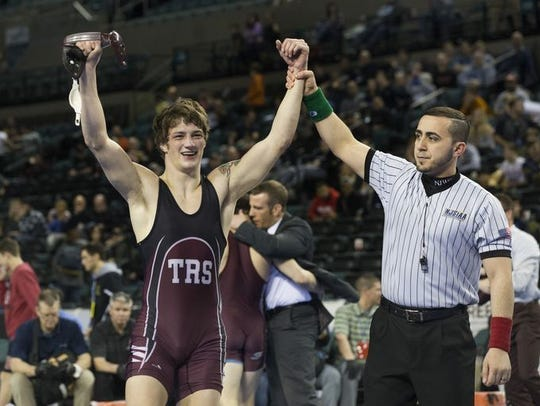 Toms River South's Cole Corrigan has his hand raised