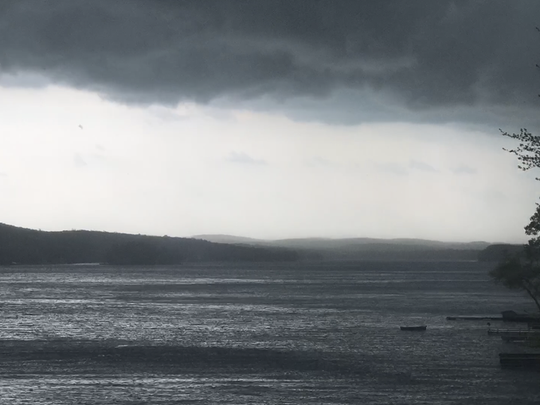 The storm moves in over Greenwood Lake looking toward West Milford.