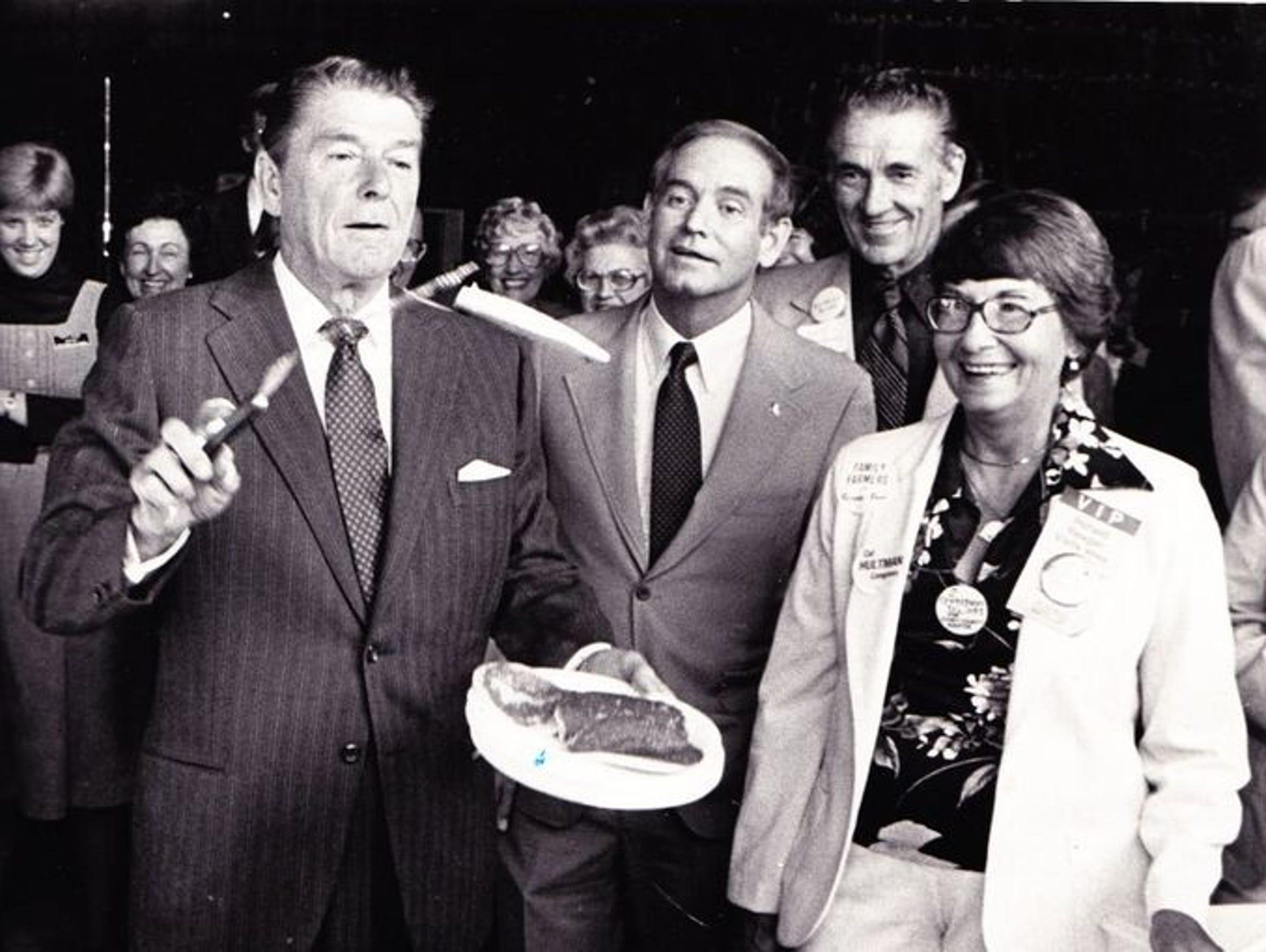 Ronald Reagan flips pancakes for breakfast next to