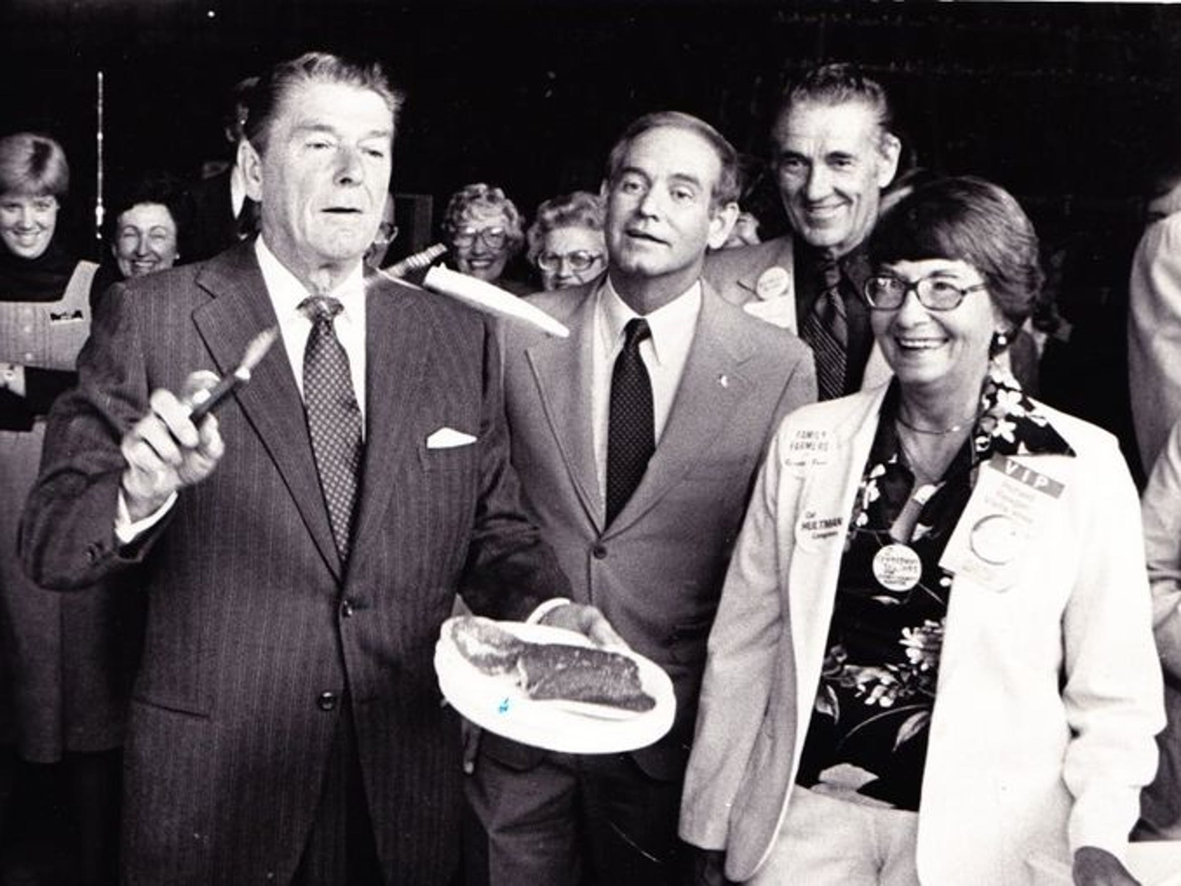 Ronald Reagan flips pancakes for breakfast next to