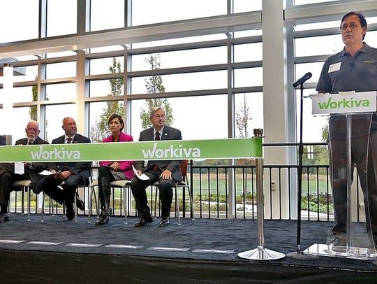 Workiva CEO Matt Rizai, far right, addressed guests