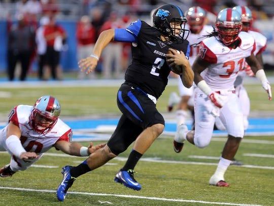 MTSU quarterback Austin Grammer will battle with redshirt freshman Brent Stockstill for the Blue Raiders' starting quarterback spot in spring practice.