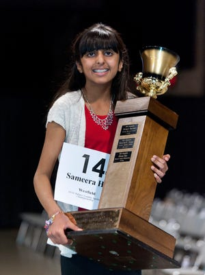 Sameera Hussain survived 17 rounds with 242 other participants. About 1,000 were in attendance for the 16th Annual Tulare County Spelling Championship at the Visalia Convention Center on February 25, 2015.