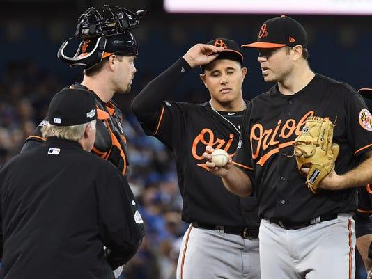 Baltimore Orioles manager Buck Showalter, bottom left, pulls starting pitcher Chris Tillman from the game as catcher Matt Wieters, top left, Manny Machado, center, and J.J. Hardy look on during the fifth inning of an American League wild-card baseball game in Toronto, Tuesday, Oct. 4, 2016. (Frank Gunn/The Canadian Press via AP)