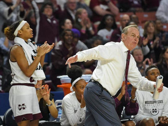 Mississippi State head coach Vic Schaefer reacts during the first half of an NCAA college basketball game against Missouri in the Southeastern Conference women's tournament Saturday, March 9, 2019, in Greenville, S.C. (AP Photo/Richard Shiro)