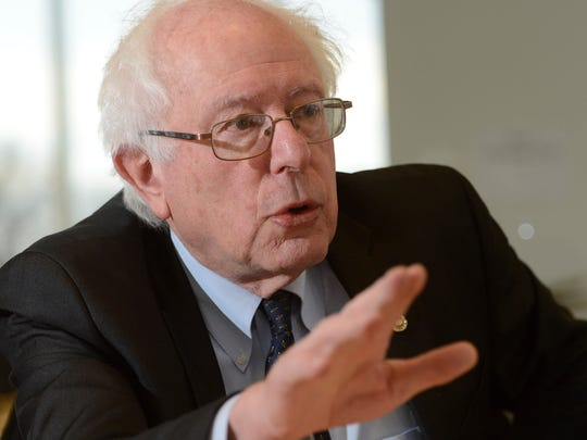 Sen. Bernie Sanders, I-Vt., speaks to the USA TODAY editorial board in February in McLean, Virginia.