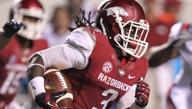 Alex Collins has paired with sophomore Jonathan Williams to help Arkansas produce 246 yards a game on the ground, good for 23rd among FBS schools. The Razorbacks averaged 118.7 yards in 2012.
