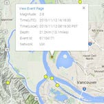 An earthquake shook the Portland area near Lake Vancouver.