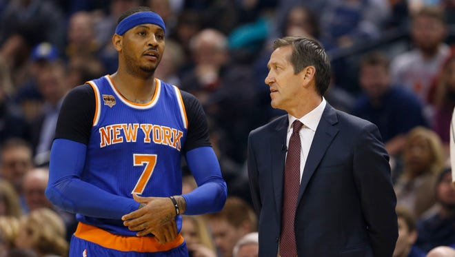 The Knicks' optimism of the summer is gone now with the trade deadline exactly four weeks away. But team president Phil Jackson and star player Carmelo Anthony, at left with coach Jeff Hornacek, have been on a break-up course almost since they put pen to paper on the five-year, $124.9 million contract.
