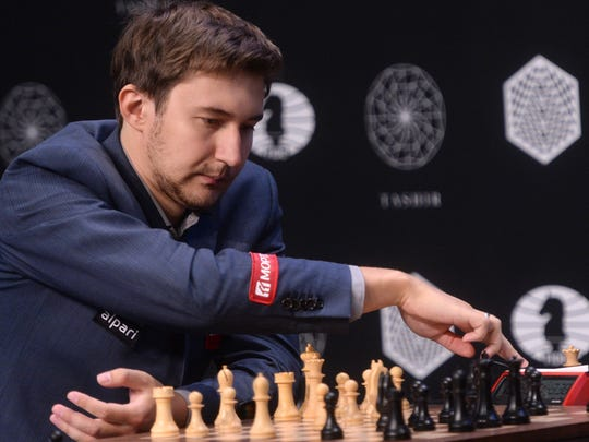 Chess Grand Master Sergey Karjakin of Russia participates