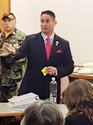 """Sen. Howie Morales of Silver City visits with the Grant County Prospectors on Wednesday at the Roundhouse in Santa Fe. A coalition of Grant County officials, residents and business owners were in Santa Fe on Wednesday for the annual """"Grant County Day."""""""