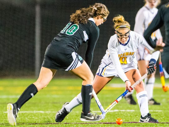 Pocomoke midfielder Dani Batze (9) works up field against Patuxent in the MPSSSAA 1A State Finals on Saturday evening at Washington College in Chestertown