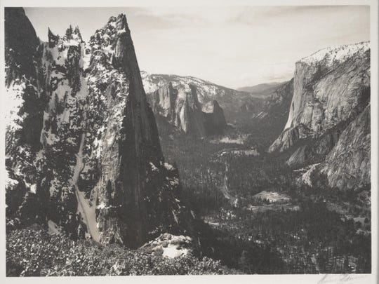 """The Sentinel, Yosemite Valley,"" which Ansel Adams took around 1923, was part of Adams' desire to document the region and inspire environmental preservation."