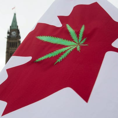 In this April 20, 2015 photo, a Canadian flag with