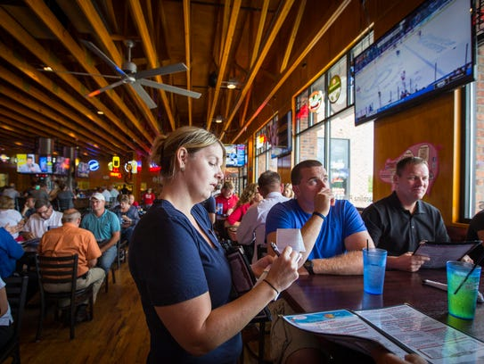 Server Wendy Becvar works the lunch crowd at Jethro's