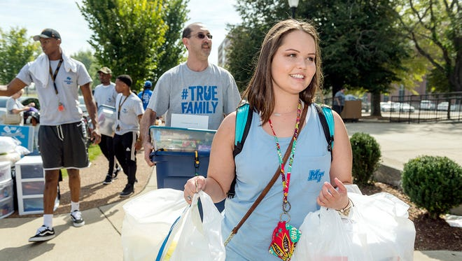 Meredith Gordon prepares to move into Corlew Hall at the start of the fall 2017 semester. The university's Board of Trustees approved a 2.88 percent tuition increase on Tuesday effective for the 2018-19 academic year.